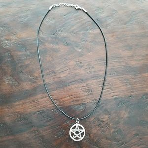 Accessories - Wicca / Pagan Pentacle Necklace on Black Cord